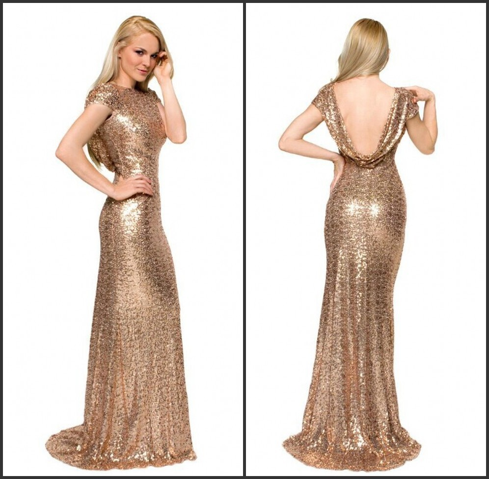 Popular 2015 Long Sleeve Backless Sequin Gold Prom Dress-Buy Cheap ...