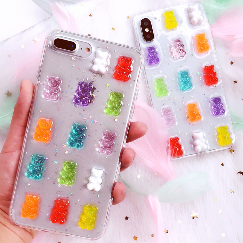 Qianliyao Cute 3D Candy Colors Bear Phone Case For Samsung Galaxy S20 S10 S10E S9 S8 Plus Note 10 Pro Note 9 8 Soft Back Cover