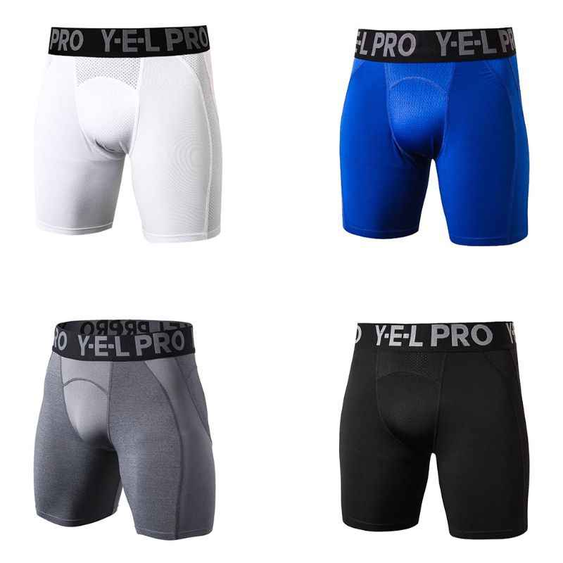 Mens Breathable Mesh Sport Compression Shorts Letters Printed Wide Elastic Waistband Cool Dry Tights Leggings Boxers