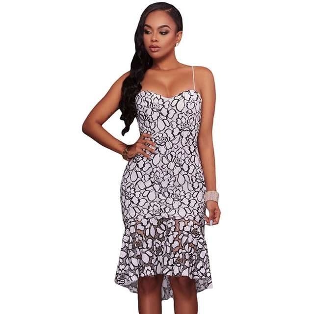 859a355c3575 2017 New Spaghetti Strap Hollow Out Knee-length Sheath Women Midi Dress  Dresses Black White Lace Floral Party Sexy Club Ad57416
