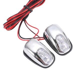 Image 2 - Boquilla de pulverización de chorro para parabrisas, luz LED blanca, accesorios para lámpara de limpiaparabrisas, 12V, 1 par