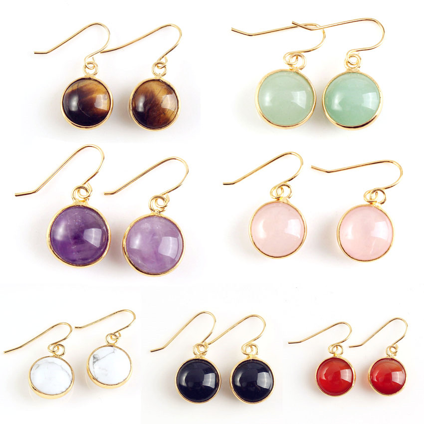 Trendy beads Light Yellow Gold Color Round Cabochon Amethysts Stone Hanging Earrings Black Agates Jewelry in Drop Earrings from Jewelry Accessories