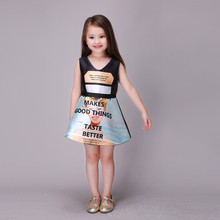 girls princess printed dress kids summer dresses for girls new printing high grade party dress baby
