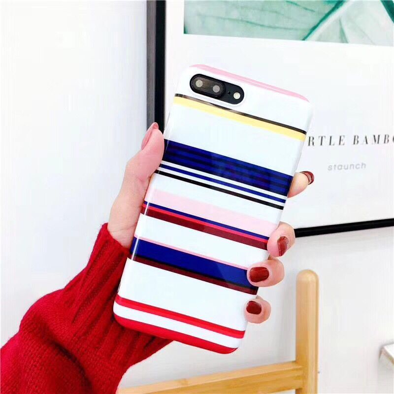 Hot Selling Soft TPU Case For iPhone8 8Plus Grid Check Geometric Mobile Phone Bags Protective Shell Coque Funda Back Cover Chic