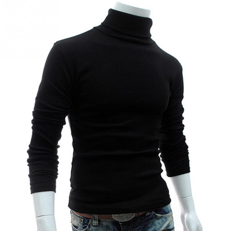 2018 Spring Winter Men Slim Warm Cotton High Neck Pullover Jumper Sweater Top Long Sleeve Turtleneck Solid Outwear Sweater in Pullovers from Men 39 s Clothing