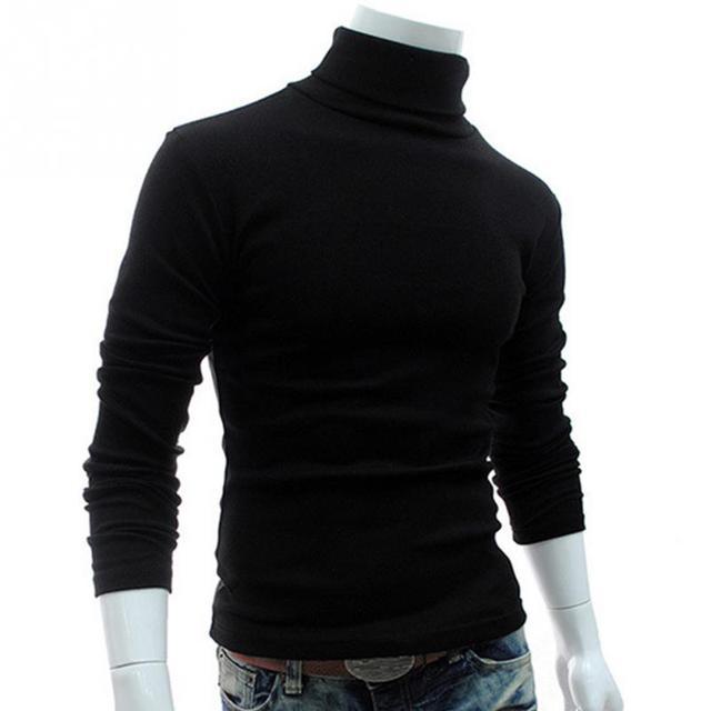 2018 Spring Winter Men Slim Warm Cotton High Neck Pullover Jumper Sweater Top Long Sleeve Turtleneck Solid Outwear Sweater