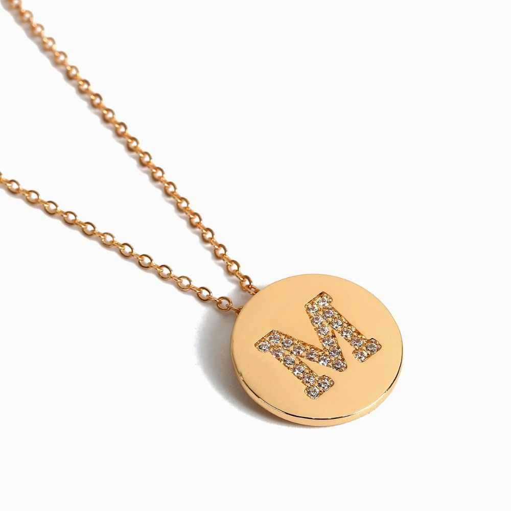JShine A-Z Gold Color Chain Crystal Alphabet Coin Necklace Women 2019 New Fashion Letter Round Choker Long Stackable Necklace