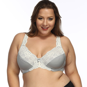 Image 1 - النساء غير المبطنة التغطية الكاملة حمالات الصدر حجم كبير حمالة التطريز لا مبطن الصدرية Underwire Bralette 32 52 DDD/F/FF/G/H كوب