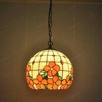 12 дюймовый основной цвет стекла люстры богатые цветы мяч оболочки Ресторан лампы освещения Тиффани ресторан люстра с