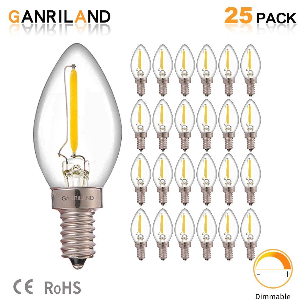 Ganriland C7 Led Dimmable Bulb E14 E12 0.5w Refrigerator Led Filament Light Bulb 2700k 110V 220V Chandelier Pendant Edison Lamps