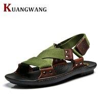 Sandálias verão 2016 Homens Novos Designers de Moda Sandalias Hombre Sapatos de Praia dos homens Sandálias Da Marca Sandálias De Couro Para Homens Zapatos