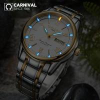 CARNIVAL Luxury Tritium self luminous Watch Top Brand business Automatic Watch Men Week Calendar Waterproof mechanical watches