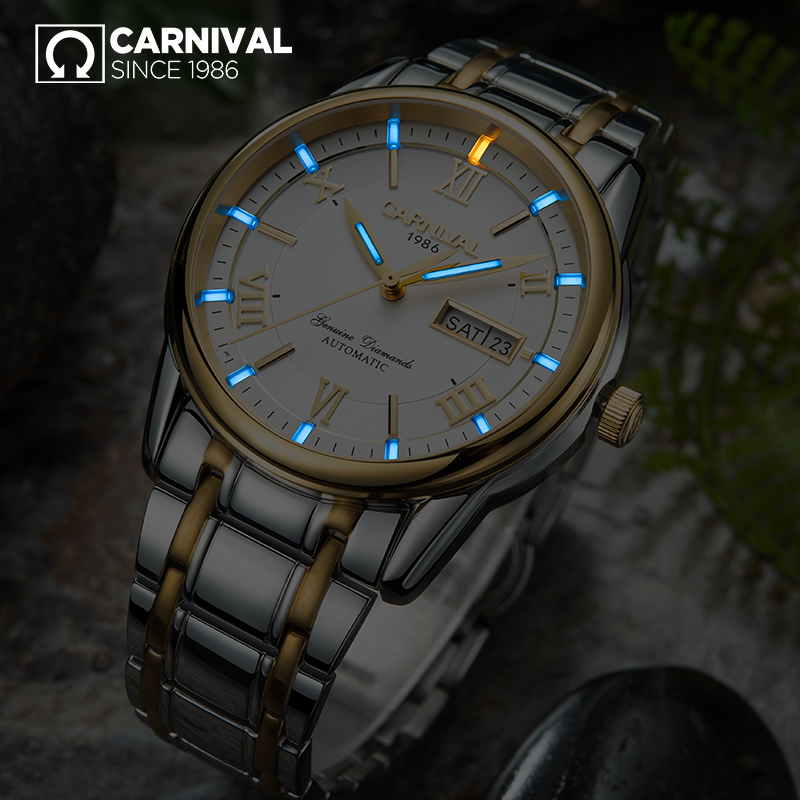 все цены на CARNIVAL Luxury Tritium self luminous Watch Top Brand business Automatic Watch Men Week Calendar Waterproof mechanical watches
