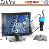 14MP 1080P CMOS HDMI Microscope Camera For Industry Lab PCB USB Output Video Recorder + C mount Lens + LED Ring Light + Stand