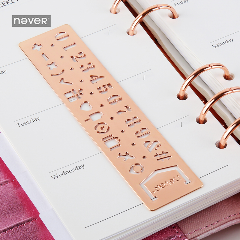 NEVER Planner Accessories Rose Gold Stainless Steel Stencils Ruler Notebook Graffiti Drawing Alphabetic DIY TOOL Gife Stationery