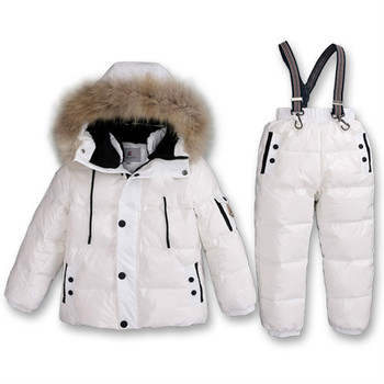 Boy Winter Ski Suits 2019 80% White Duck Down Jacket Girl Suit Overalls Children's Sportswear Baby Fashion Clothing Waterproof 4