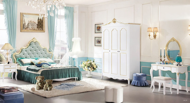 Baroque Style Queen Bed Kids Bedroom Set Kid Solid Wood Decorative Furniture Wardrobe Desk 9926