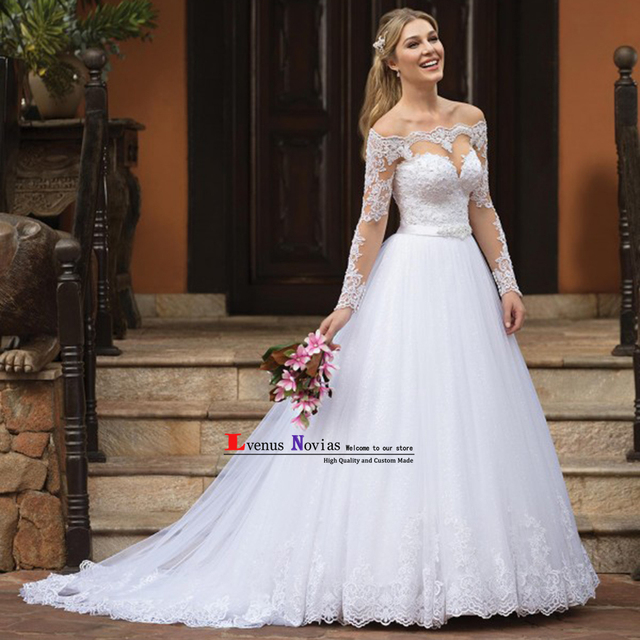 Vestido De Noiva 2019 Fashion Bohemian Wedding Dresses Luxury Pearls Lace  Long Sleeve Wedding Dress Sexy Bridal Gown trouwjurk d37f9218aab5
