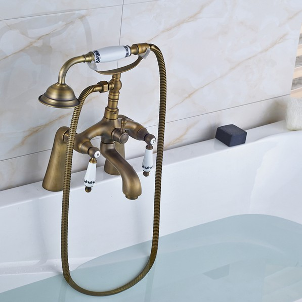 Us 87 09 33 Off Retro Antique Brass Double Ceramic Handles Deck Mounted Bathroom Clawfoot Bathtub Tub Faucet Mixer Tap W Hand Shower Aan009 In
