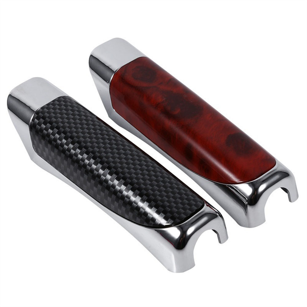 High Quality 1 Pcs ABS Fashion Luxury Wooden And Carbon Car Hand Brake Cover Decoration Carbon Fiber Brake Protector