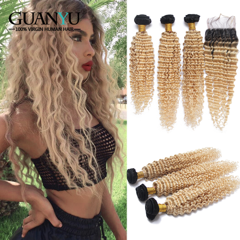 Guanyuhair Remy 1B/613 Ombre Blonde Bouclés Bundles avec 4X4 Dentelle Fermeture de Cheveux Humains Vague Profonde Brésilienne cheveux Pour Les Femmes