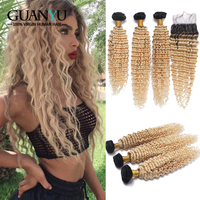 Guanyuhair Remy 1B/613 Ombre Blonde Curly Bundles with 4X4 Lace Closure Human Hair Deep Wave Brazilian Hair For Women