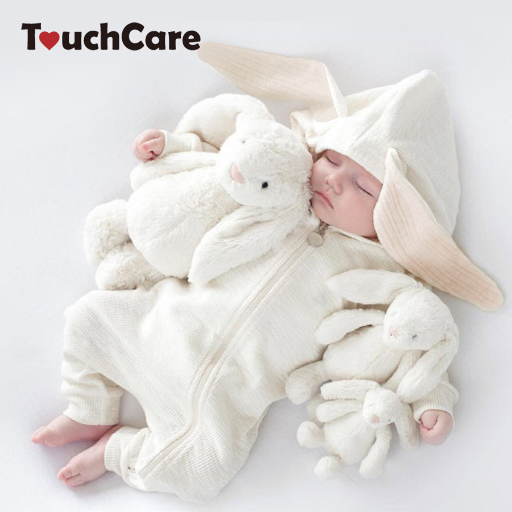 Baby Bunny Ear Rompers Infant Rabbit Jumpsuit Outfit Cotton Boys Girls Hare Playsuits Hooded Clothes Bunny Pajamas Ruffle Romper kids ruffle tie neck striped romper