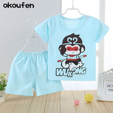 okoufen 2017 new baby boy clothes suit summer cartoon bear short sleeve shirt+ shorts children body suit kids clothing sets