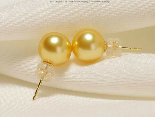 AAA10-11mm perfect round south sea gold pearl stud earrings 18kAAA10-11mm perfect round south sea gold pearl stud earrings 18k