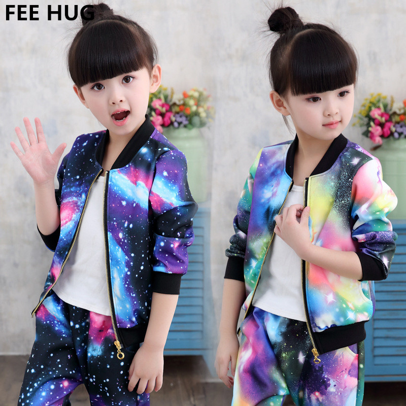 где купить FEE HUG Children Jackets sets Boys Girls Clothing Sets 2018 Kids Sports Suit Girls Jacket Coat+Pants Children Boys Tracksuits по лучшей цене