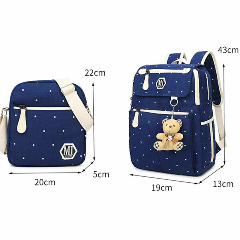 f501db8162e6 ... 4Pcs set Fashion Canvas Women School Backpacks College School bags for  Teenager Girls Boys Rucksack