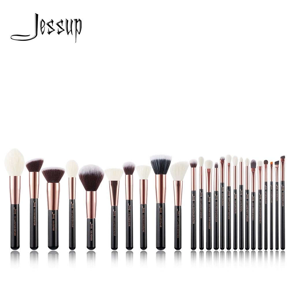 Jessup ensemble Rose Or/Noir Professionnel Maquillage Pinceaux Make up pinceaux fond de teint en poudre Fards À Joues naturel-synthétique cheveux