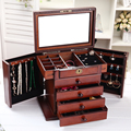 Wooden jewelry box European cassette lock birthday gift high-end wedding wood makeup box large makeup organizer Storage Boxes
