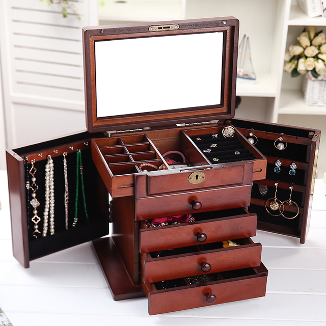 Wooden jewelry box European cassette lock birthday gift high end