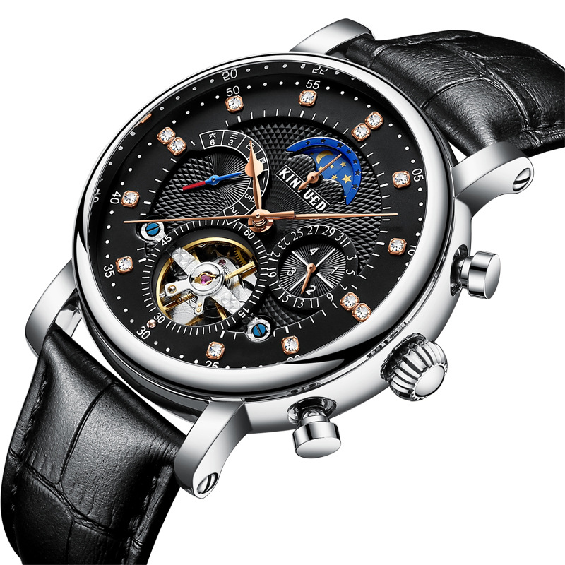 Kinyued Skeleton Tourbillon Mechanical Watch Automatic Men Classic Male Gold Dial Leather Mechanical Wrist Watches J025P