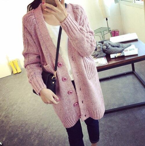 Crochet Long Female Cardigan 2016 New Fashion Womens Warm Sweaters dámské mikiny Single Breasted V Neck Pocket Coat Outwear