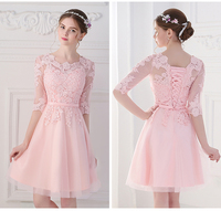 03023003e1c Lace Half Sleeve Bridesmaid Dresses Short Party Dress O Neck Knee Length  Robe De Mariage Wedding