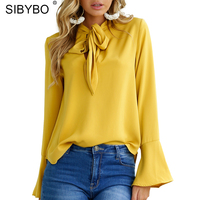 Sibybo Long Sleeve Cotton Women Blouses Autumn New Drawstring V Neck Ruffles Elegant Women Tops Flare