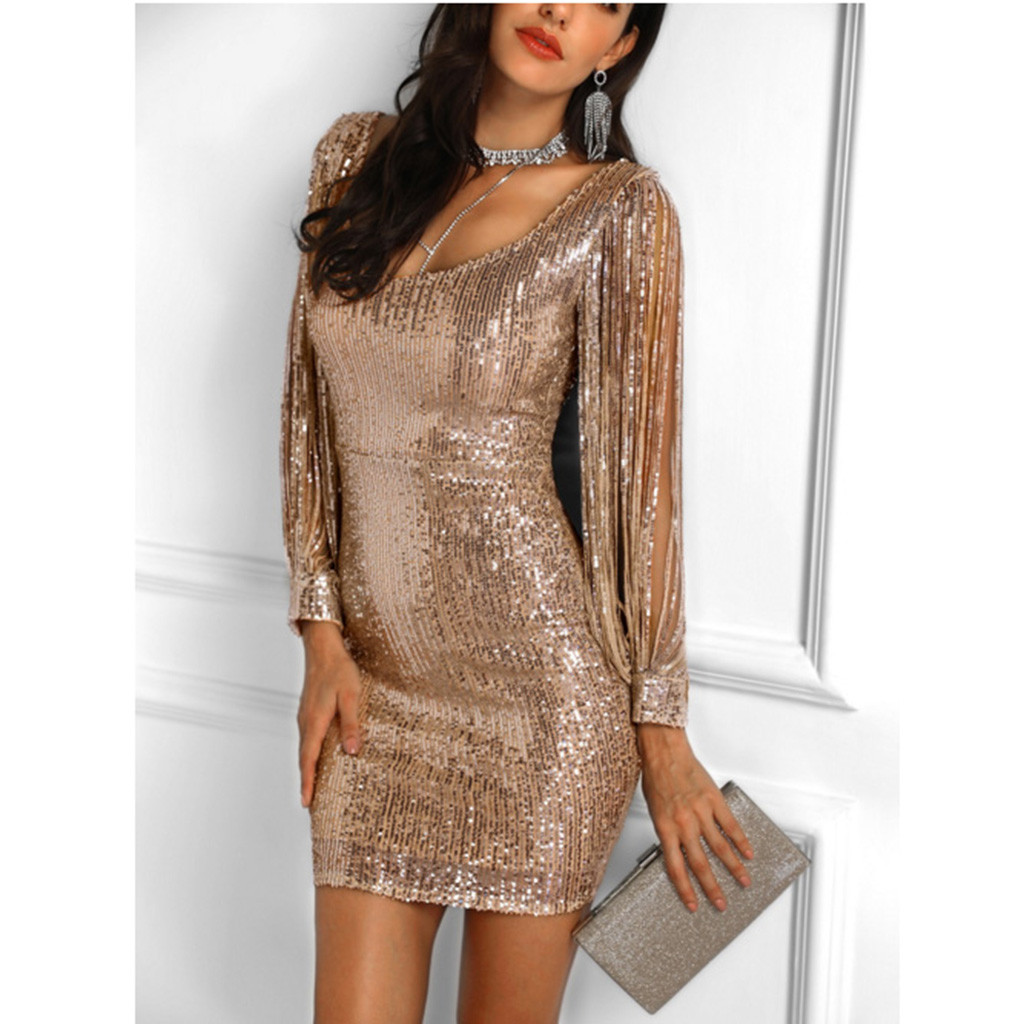 dbaf4fa5870c2 Gold Tassels Detail Slit Sleeve Sequin Dress Women Sexy Party Silver Black  Mini Bodycon Dresses Ladies Sequined Glitter Dress