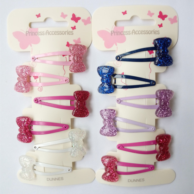 AKWZMLY New 6Pcs Hairclip Cute Bow Shiny Hair Clip Solid Kids Metal Snap Hair Accessories Hairgrip Jewelry Children Hair Slides hot hello kitty hairpin women hair clip cute barrette solid pink hairpins character hairgrip girl metal jewelry hair accessories