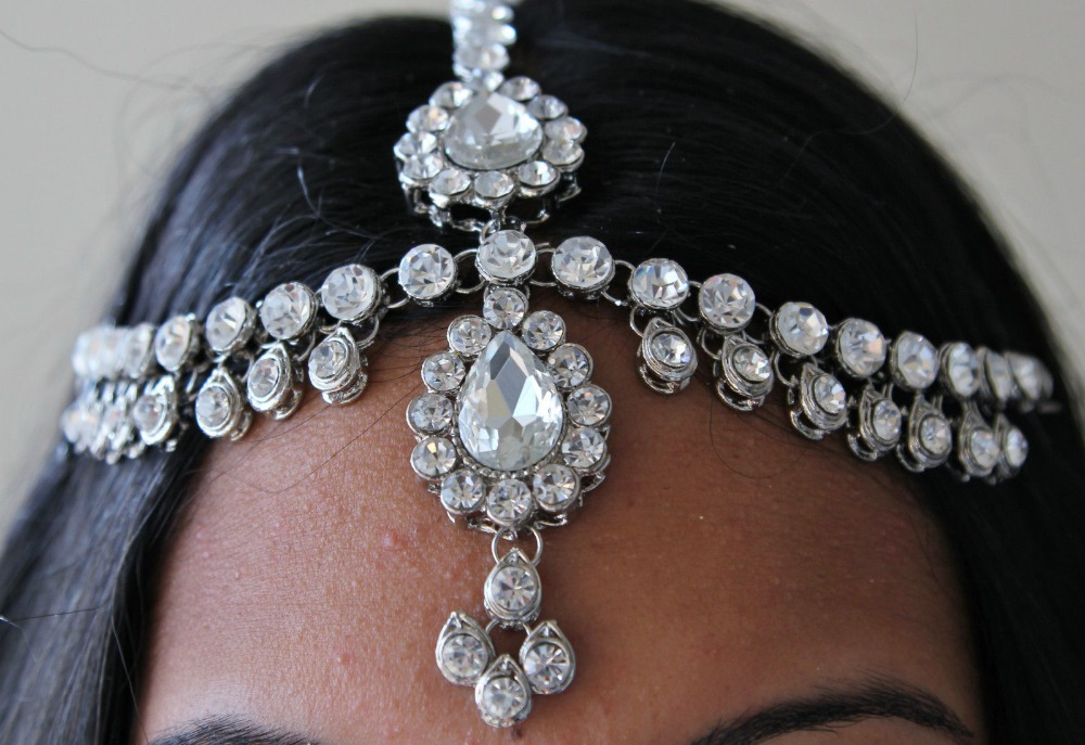 Handmade Kundan stones hair chain Grecian style headpiece head jewellery wedding gift