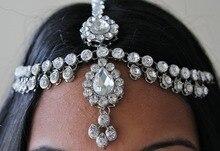 Hechos a mano Kundan piedras pelo cadena Grecian estilo celada head joyería regalo de boda