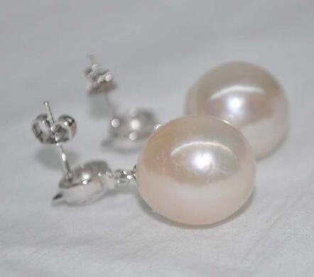 Очень блеск барокко розовый белый 14*14 15 мм Касуми жемчужные серьги гвоздики - 2