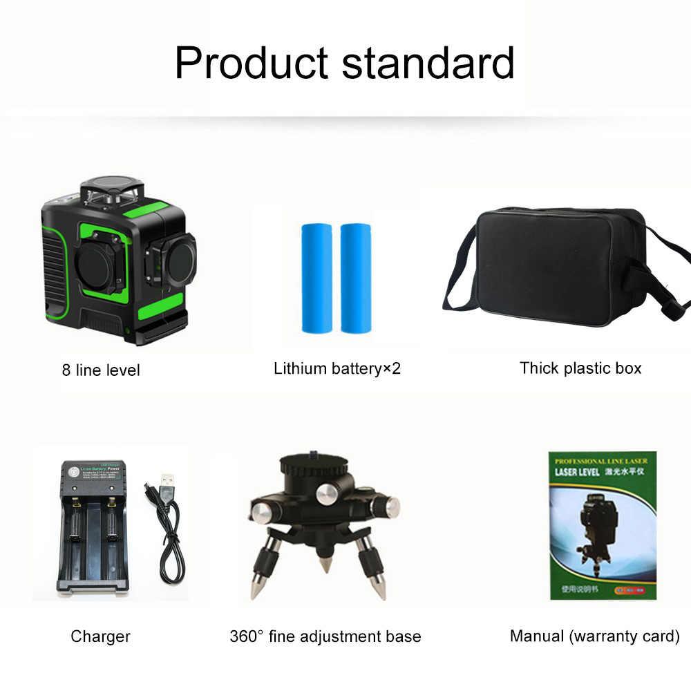 12 קווים ירוק לייזר רמת 360 עם 18650 סוללה USB מטען 8 קרן לייזר קו אופקי אנכי צלב סופר חזק