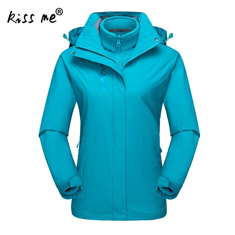 Women hiking Jackets 2 pieces Softshell Fleece Jackets Waterproof Coats Outdoor Sports Clothing Camping Hiking Female Jackets new outdoor women multi function softshell hiking jackets outdoor camping coats thermal spring leisure sports female jacket