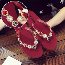 2019 Fashion Women Slippers Crystal Flip Flops Flat Shoes Summer Red/Black/Gray Female Shoes Casual Lady Shoes Woman Footwear hot sale 2016 summer woman shoes rhinestone flat woman shoes fashion casual shoes wild concise female flip flops dt194
