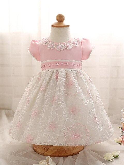 Новорожденных 1-й Первый Девочка День Рождения Dress Младенческой Розовый Синий Litttle Dress Baby Girl Dress Party Свадебное Платье Размер 4-24 месяцев
