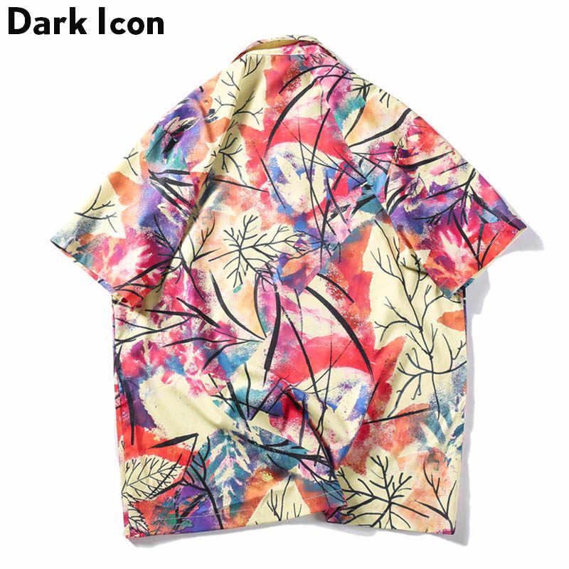 ダークアイコンを印刷ビーチ休暇シャツ男性 2019 夏のストリート男性のシャツヒップホップシャツ男性