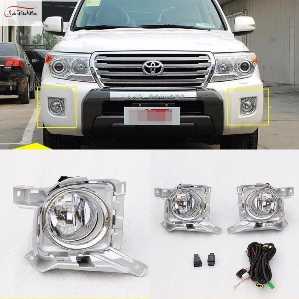 JanDeNing Car Fog Lights Lamp for Toyota Land Cruiser LC200 2012-2015 Front fog lamp Assembly kit (one Pair) us shipping side window sun shield visors vent rain wind deflector guard for toyota land cruiser 200 lc200 2008 2014