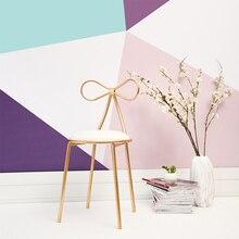 Простой домашний туалетный столик стул кованого железа Маленький стул для макияжа стул для маникюра Ins бант Сетка Красный табурет